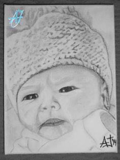 #AJ_ Retrato de una niña recién nacida con su gorrito de lana para no pasar frío. Regalo a su mama para inmortalizar aún más si cabe ese maravilloso día. #Carboncillo sobre un #lienzo de escasos 15cm. de largo.  Desde #benalmadena, #malaga, @AmparoJurado85 #docente2.0 #aj_informa con mucho #arte #pintura #art #lovingart #loveart desde #andalucia #españa porque #estaes_espania #estaes_andalucia #estaes_malaga #lovingmalaga #ilovemalaga #lovebenalmadena #costadelsol #regalosnavideños