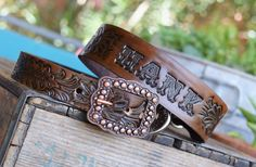Leather Dog Collar Copper Buckle (Western dog collar,tooled leather collar,personalized dog collar,leather dog leash)The Diamond Dogs by theDiamondDogs on Etsy https://www.etsy.com/listing/291351271/leather-dog-collar-copper-buckle-western
