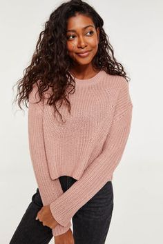 b9e40383e878c4 Basic Crop Knitted Sweater Cropped Knit Sweater, Cute Tops, Rib Knit, Crew  Neck