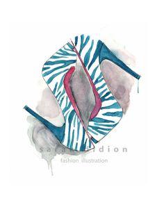 Grabado de la ilustración de moda por SarahKDidion en Etsy