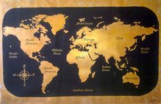 World Map Painting  Huge  Gold Black  by ArtonlineGallery on Etsy, $360.00