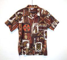 vintage 60's / mod tiki print / hawaiian shirt / aloha wear / by paradise hawaii