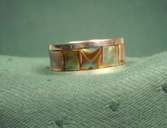 ABALONE & SILVER RING made in Mexico stamped by ChristophCreations, $40.00
