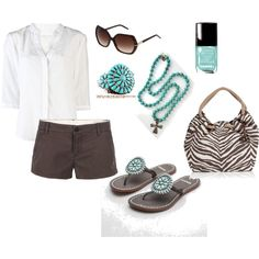 Aqua & Chocolate With SilverTribe Jewelry, created by missy5978 on Polyvore  Turquoise bracelet at http://www.silvertribe.com/Turquoise-Bracelets