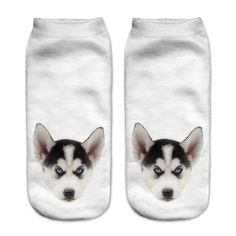 Zohra Fashion Funny Dogs 3D Print Low Cut Ankle Socks for Women