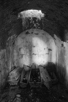 Tesmar Familiengrab in einem verlassenen Friedhof von Klein-Borkow, Poland.