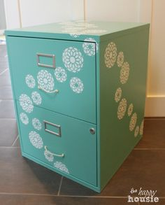 One Bliss - fully Flowered Chalk Painted Stencilled Filing Cabinet {Get Your DIY On} - The Happy Housie