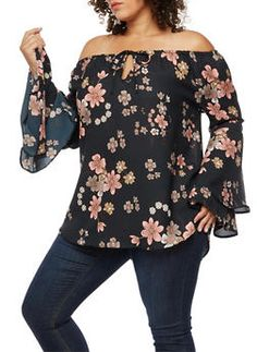 Plus Size Floral Tiered Bell Sleeve Off the Shoulder Top - BLUSH/BLACK  F 1008 - 3803068709137