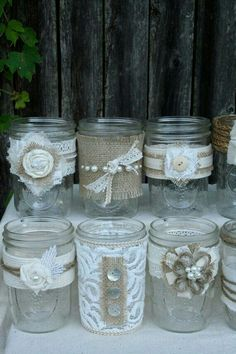 Lace and burlap Mason jar wedding decor Lace Mason Jars, Mason Jar Crafts, Bottles And Jars, Glass Jars, Burlap Crafts, Diy And Crafts, Diy Wedding, Rustic Wedding, Wedding Crafts