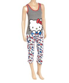 Look what I found on #zulily! Gray & Red Hello Kitty Pajama Set - Juniors by Hello Kitty #zulilyfinds