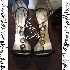Pretty Guess heels Size 7 black patent guess heels with metel guess loco and small heart ankle strap worn once 4 inch heel Guess Shoes Heels