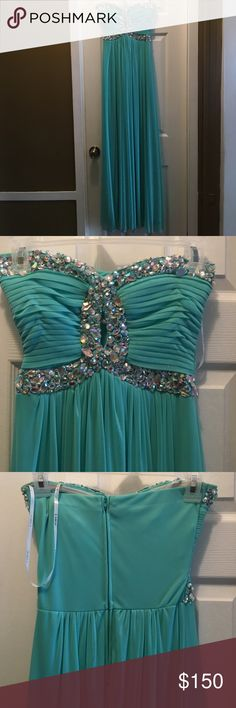 Light Blue Formal Dress with Silver Jewels Only worn once! B Darlin Dresses Prom