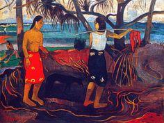 "Paul Gauguin - Post Impressionism - Tahiti - I raro te ouri, ""le troc""?"