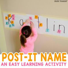 Looking for an easy alphabet activity? Check out Post-It Names - a quick and easy name recognition activity. It's a quick and easy activity for toddler and preschoolers! A great indoor activity and for learning the ABCs.