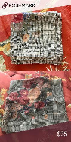 Ralph Lauren Houndstooth Scarf Silk in excellent used condition. Ralph Lauren Accessories Scarves & Wraps