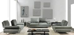 At Home Gia Leather Livingroom Set in Grey