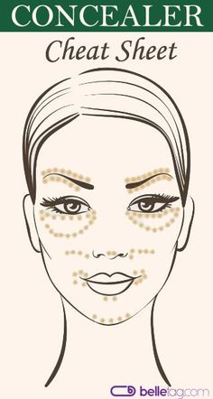 The Makeup Basics: How to Achieve a Perfect Complexion. A face map of where to apply a concealer.
