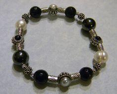 Onyx, Hematite, Freshwater Pearl and Bali Silver Bead Stretch Bracelet