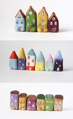 Small houses painted on stones