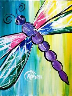 Wine & Design North Myrtle Beach, SC Top Choice to Paint and Sip Wine Get Your Art Buzz On, Call Us Today at Wine & Painting Parties Wine Painting, Summer Painting, Easy Canvas Painting, Painting & Drawing, Painted Canvas, Dragonfly Painting, Dragonfly Art, Kids Canvas, Paint And Sip