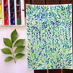 #watercolor #leaf #green #painting #pattern #eco