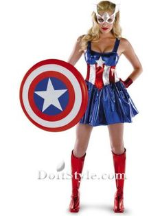 Shiny Female Captain America Superhero Costume