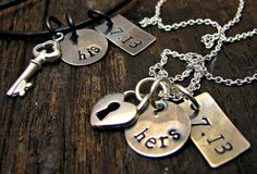 Personalized Jewelry - Hand Stamped His  Hers Sterling Silver Matching Couple Necklace Jewelry - Wedding, Engagement, Love, Key, Heart on Etsy, $68.00