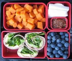 Refried Roll-ups. Loved by both adults and children, this nutrient-rich lunch is fresh and delicious. Blueberries are in abundance this time of year, and they add balance to the orange, white, red, and green of the surrounding colors. Notice the variety of textures as well: crunchy jicama, juicy blueberries, crisp spinach, and creamy yams. It's got the word satisfying written all over it! #Bentology