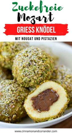 Try these Sweet Austrian Semolina Dumplings filled with Nutella and coated with pistachios. A healthy sugar-free spin on an authentic Austrian dessert. Austrian Desserts, Austrian Recipes, German Recipes, Sugar Free Nutella, Sugar Free Pudding, Low Carb Dinner Recipes, Brunch Recipes, Sweet Recipes, Sugar Free Desserts
