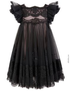 Must Have of the Day: Iconic Dolce & Gabbana black couture lace dress gown for little doll Little Girl Dresses, Girls Dresses, Flower Girl Dresses, Outfits Niños, Kids Outfits, Baby Girl Fashion, Kids Fashion, Fashion Black, Girls Black Dress