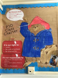 Display Boards For School, School Displays, Class Charter Display, Classroom Charter, Rights Respecting Schools, Paddington Bear, Corridor, School Ideas, Classroom Ideas