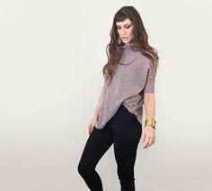 Frauen Startseite • Box Shirt übergroße Bluse • stricken oder Jersey Stoffe • Cowl Neck • Loft 415 Kleidung (Nr. 819)