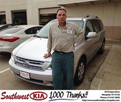 Congratulations to Josip Bulic on your new car  purchase from Jerry Tonubbee at Southwest Kia Mesquite! #RollingInStyle