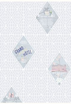 The Grand Budapest Hotel - An elegant collage in a beautiful muted colour palette.