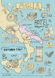 Check out this Illustrated Map of Puglia by pen-and-ink illustrator Yaansoon, featuring food illustrations from Lecce, Bari and Altamura. Italy Illustration, Travel Illustration, Digital Illustration, Calabria Italy Map, Puglia Italy, Sardinia Italy, Italy Vacation, Italy Travel, Food Map