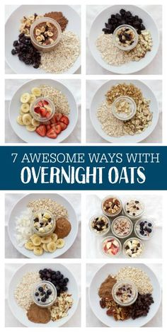7 AWESOME Ways to Enjoy Overnight Oats. You'll want to jump on this tasty bandwagon! 7 AWESOME Ways to Enjoy Overnight Oats. You'll want to jump on this tasty bandwagon! Healthy Snacks, Healthy Eating, Healthy Recipes, Yummy Snacks, Delicious Recipes, Healthy Breakfasts, Vegetarian Recipes, Clean Eating Meals, Healthy Meats