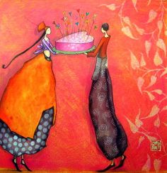 Gaelle Boissonnard art card birthday wedding two people one in orange dress one in red grey pant suit scarlet background square card blank card Birthday Greeting Cards, Greeting Cards Handmade, Card Birthday, Illustrator, Art Fantaisiste, Art Carte, Peacock Art, Art Et Illustration, Art Illustrations