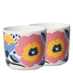 Marimekko Oiva Rosarium Becher Set F/S 20 bei Marimekko, Designer, Mugs, Tableware, Colorful Flowers, Floral Patterns, Pastel, Tumblers, Packaging