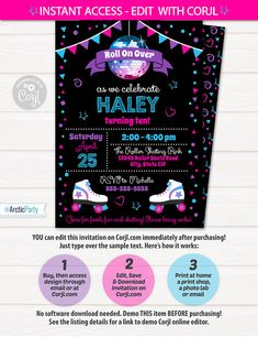 Roller Skating Invitations Roller Skating Birthday Party $7.99 #RollerSkatingInvitations #RollerSkatingBirthdayPartyInvitations #RollerSkateInvitations #Corjl