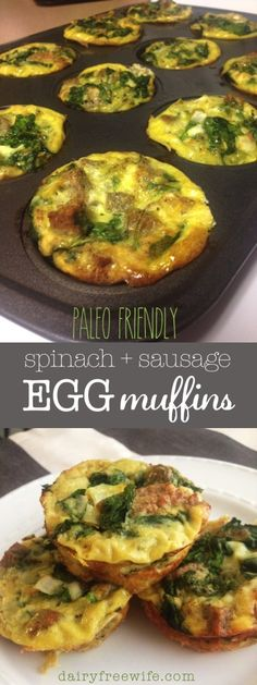 Spinach sausage egg muffins that are paleo friendly, dairy free, gluten free, and low carb | dairyfreewife.com
