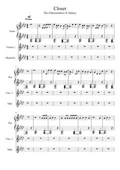 Free Piano Sheets Closer by The Chainsmokers ft. Halsey PDF