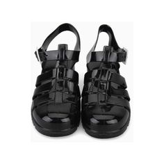 Black Gladiator Jelly Sandals with Block Heel (210 PLN) ❤ liked on Polyvore featuring shoes, sandals, clothes - shoes, black, block heel sandals, black sandals, kohl shoes, gladiator shoes and black shoes