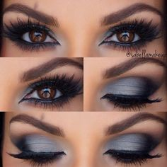 We love this grey to dark brown with black in the outer v smokey eye make up look - complete the look with dark brown eye shadow under the bottom lashes and black eyeliner & mascara on both the top and bottom lashes #beauty...x