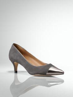 66fc134a5ea9 Talbots - Diane Metallic Capped-Toe Kitten-Heel Suede Pumps