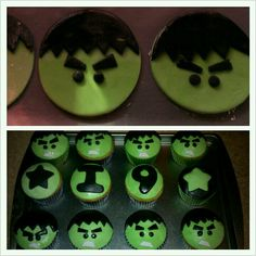 Made these Hulk cupcakes for my sons bday today. Yellow cake with cream cheese filling topped with marshmallow fondant decoration. Hope you like! :)