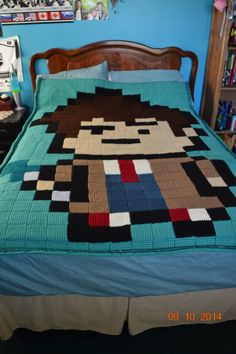 Doctor Who 10th Doctor 8-Bit Entrelac Crochet Blanket by Crochet4theSewl on Etsy https://www.etsy.com/listing/203040811/doctor-who-10th-doctor-8-bit-entrelac