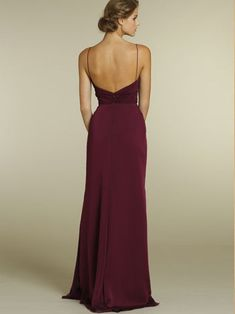 Merlot Chiffon A-line V-neck Long Bridesmaid Gown with Spaghetti Strap and Draped Bodice
