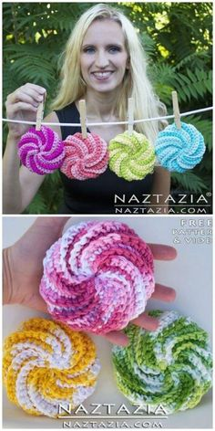 Learn how to crochet spiral scrubbies. Donna Wolfe from Naztazia steps us throug… Learn how to crochet spiral scrubbies. Donna Wolfe from Naztazia steps us. Scrubbies Crochet Pattern, Crochet Dishcloths, Spiral Crochet Pattern, Crochet Dish Scrubber, Crochet Potholder Patterns, Scrubby Yarn, Crochet Towel, Easter Crochet Patterns, Crochet Motif