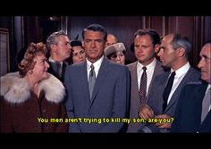 """Alfred Hitchcock's """"North by Northwest"""" Jessie Royce Landis as his mother(she wasin fact 1 year older than Cary) and Cary Grant in the Plaza elevator. Alfred Hitchcock, Hitchcock Film, North By Northwest, Eva Marie, Cary Grant, Hollywood Stars, Classic Hollywood, James Mason, Incredible Film"""