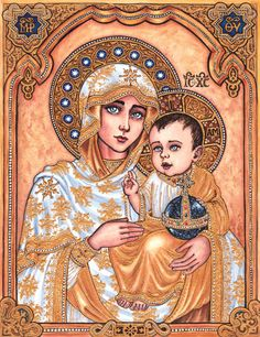 The Theotokos of Jerusalem by Theophilia on deviantART ~ watercolor & ink ~ Blessed Mother Mary & Baby Jesus